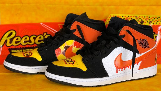 reese's pieces custom art sneaker by A22